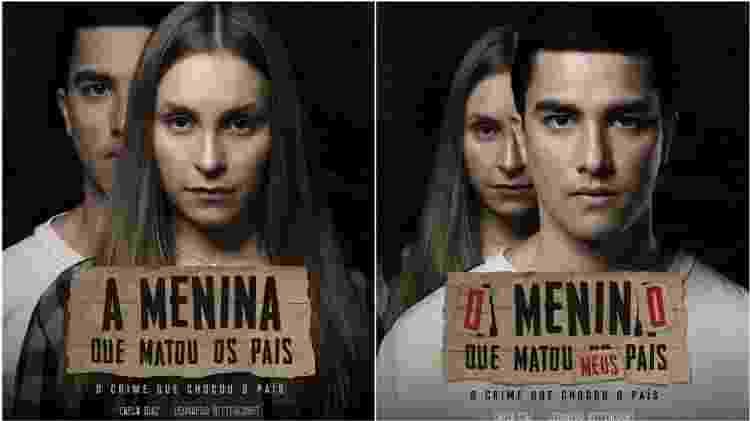 """Cartazes de """"A Menina que Matou os Pais"""" e """"O Menino que Matou Meus Pais"""" - Divulgação - Divulgação"""