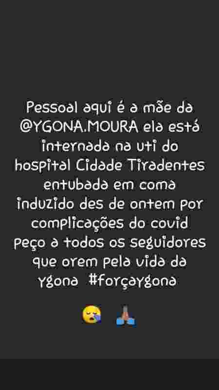 Mãe de Ygona Moura fala sobre estado de saúde da influenciadora - Reprodução/Instagram - Reprodução/Instagram