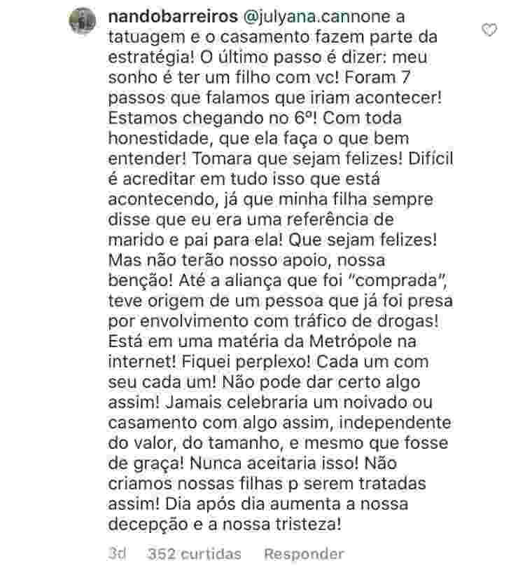 Luiz Fernando Barreiros, pai de Duda Reis, comenta relação - Reprodução / Instagram - Reprodução / Instagram