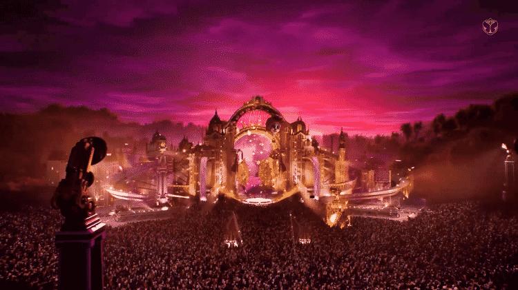 O palco virtual de Katy Perry no Tomorrowland 2020 -- completo com uma multidão de fãs - Reprodução - Reprodução