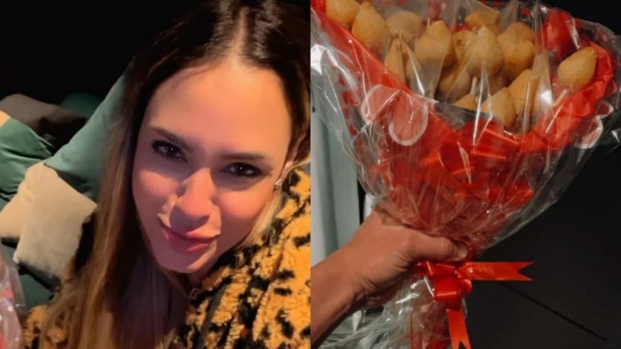 """Sarah Andrade, ex-""""BBB 21"""", se declara ao namorado Lucas Viana após ganhar buquê de coxinha - Reprodução/Instagram"""