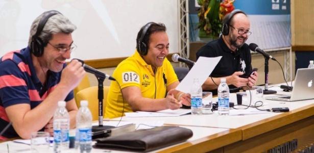 """Zé Paulo, Beto Hora e Lélio Teixeira no comando do programa """"Na Geral"""" - Divulgação"""