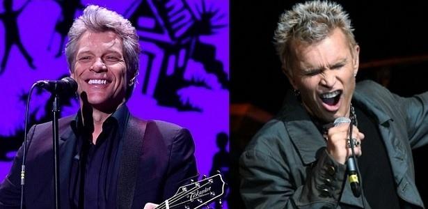 Jon Bon Jovi e Billy Idol, que estarão na sétima edição brasileira do Rock in Rio - Getty Images/Montagem