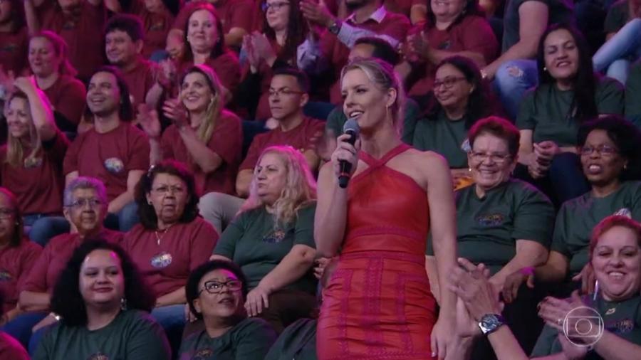 """A repórter Ju Valcézia, que saiu do """"Domingão do Faustão"""" em novembro, apareceu em programa gravado - Reprodução/TV Globo"""
