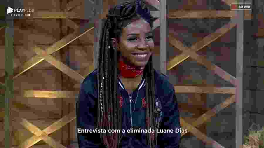 Após ser eliminada, Luane Dias é entrevistada pelo apresentador Marcos Mion - Reprodução/RecordTV