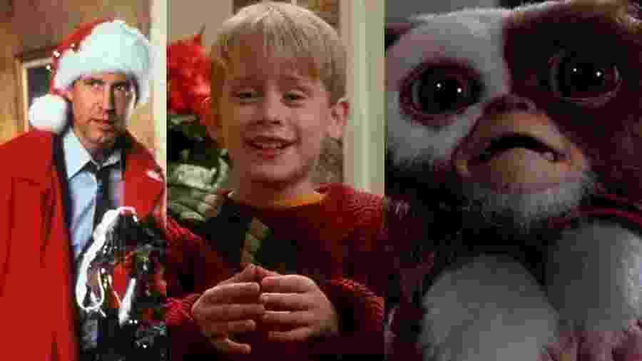 """Cena de """"Férias Frustradas de Natal"""", """"Esqueceram de Mim"""" e """"Gremlins"""" - Reprodução/Montagem"""