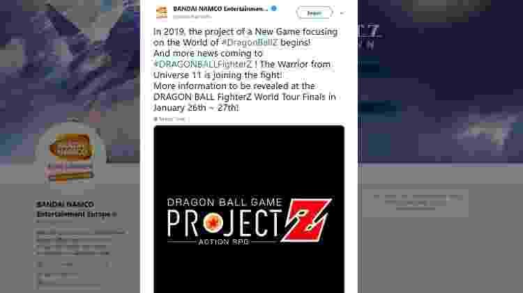 """Mensagem da Bandai Namco anunciando o novo título da franquia """"Dragon Ball"""". O tweet foi deletado posteriormente. - Reprodução"""