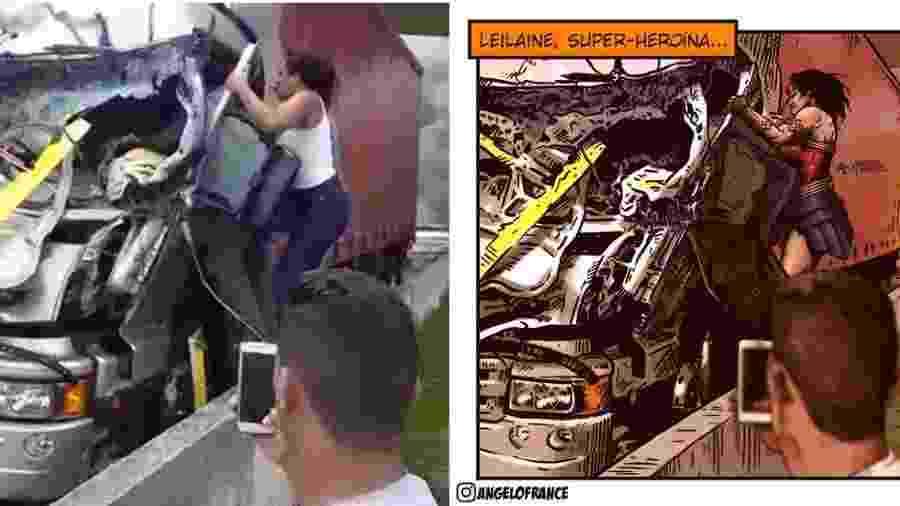 Angelo France retratou Leiliane Rafaela como super-heroína no acidente que vitimou Ricardo Boechat - Reprodução/Angelo France