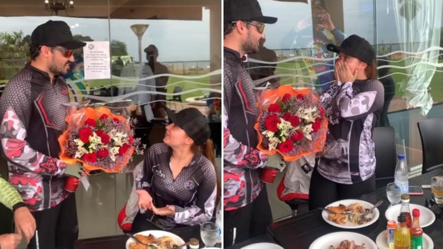 Fernando Zor presenteia a namorada, Maiara - Reprodução/Instagram