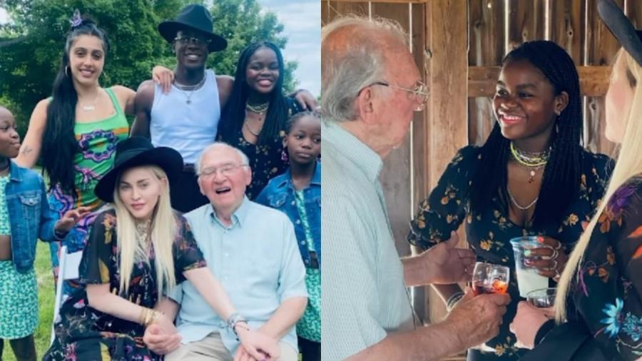 Madonna comemora o aniversário de 90 anos do pai junto com cinco de seus seis filhos - Reprodução/Instagram