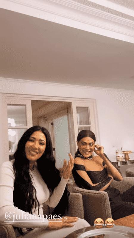 Simaria ri após Juliana Paes imitar Nair Bello - Reprodução/Instagram - Reprodução/Instagram