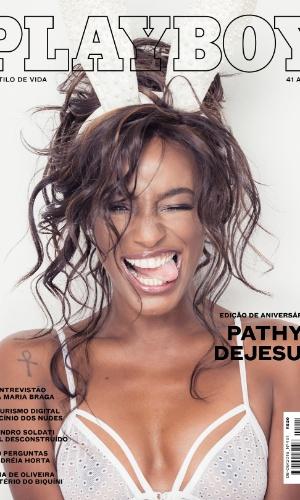 """Pathy Dejesus em capa de aniversário da revista """"Playboy"""", que comemora 41 anos em agosto. Público deverá votar na capa que chegará às bancas"""