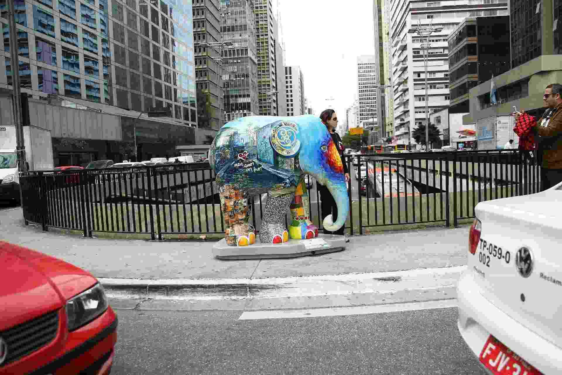 Obra da Elephant Parade, que chegou a São Paulo nesta terça (1°) - Renato S. Cerqueira/Futura Press/Estadão Conteúdo