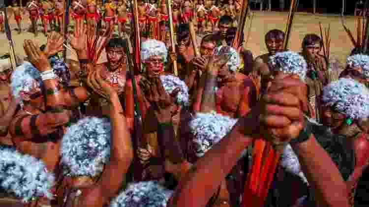 Os Yanomami no encontro de Lideranças Yanomami e Ye'kuana, onde os indígenas se manifestaram contra o garimpo em suas terras. O primeiro fórum de lideranças da TI Yanomami foi realizado entre 20 e 23 de novembro de 2019 na Comunidade Watoriki, região do Demini - Victor Moriyama / ISA - Victor Moriyama / ISA