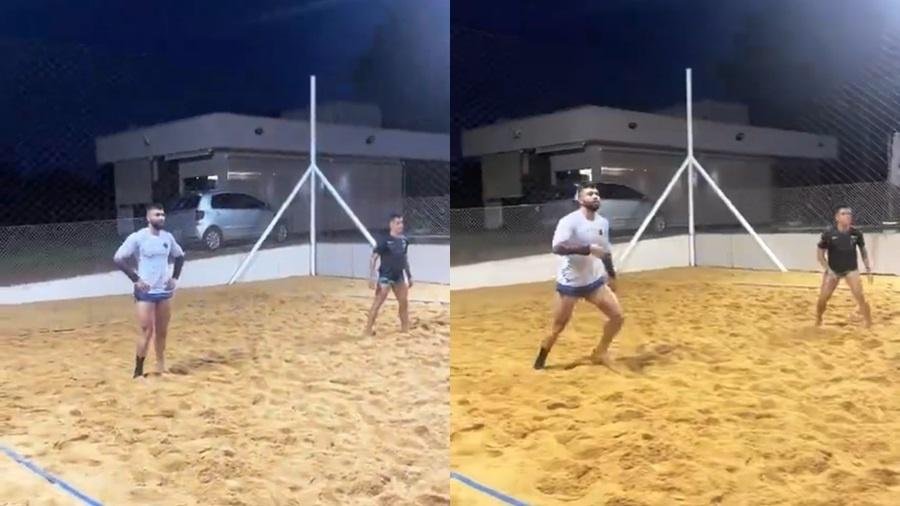 Gusttavo Lima pratica futevôlei com os amigos - Reprodução/Instagram