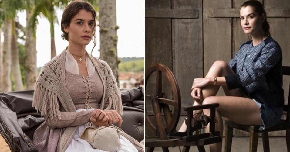 """Alinne Moraes intepreta a Lívia em """"Além do Tempo"""". Na imagem, a personagem como noviça e na segunda fase como uma  executiva"""