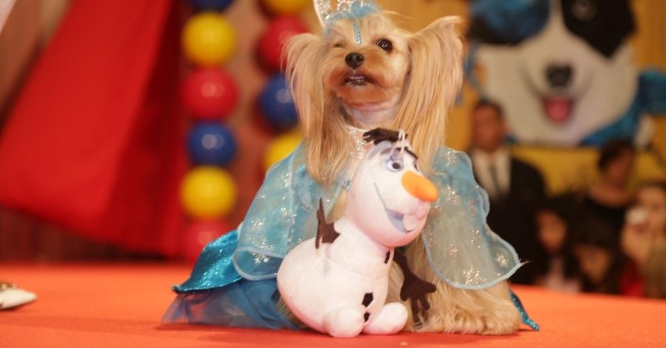 "Vicky Nina vestida de princesa Elza, do ""Frozen"""