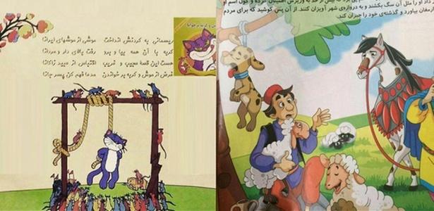 Página de um livro infantil lançado no Irã mostra cena de execução de gato - DW