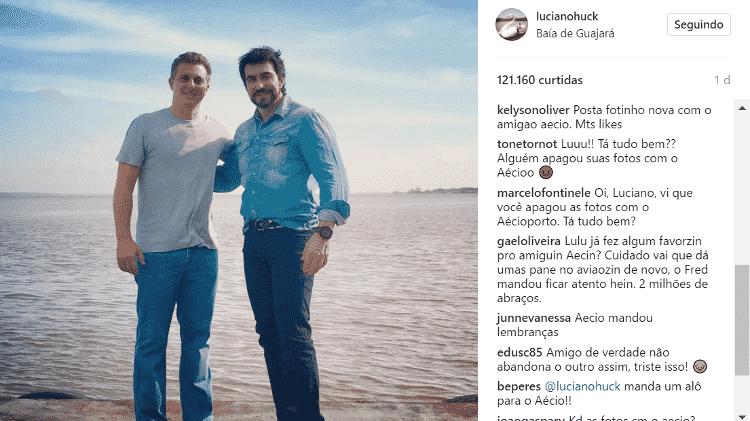 """Internautas 'invadiram' os comentários no Instagram de Luciano Huck para questionar: """"Cadê o Aécio?"""" - Reprodução/Instagram - Reprodução/Instagram"""
