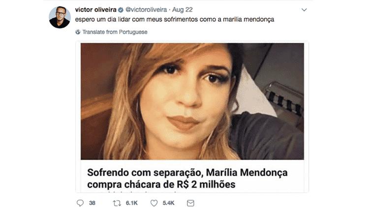 marilia mendonca tweet - Reprodução/Twitter - Reprodução/Twitter