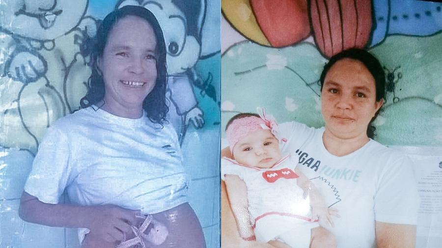 Andréa Maciel aparece grávida na prisão e logo depois após o parto - Arquivo Pessoal