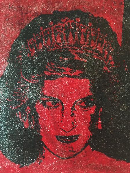 O retrato da princesa Diana feito com sangue com HIV e diamantes em pó - Reprodução/Twitter