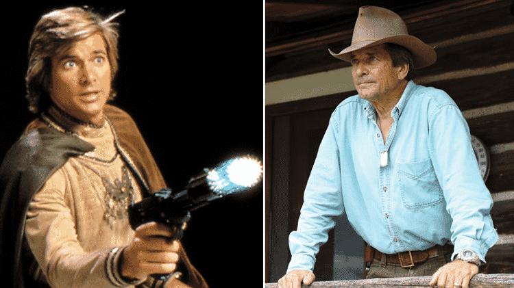"""Antes e depois do ator Dirk Benedict, que viveu Starbuck em """"Battlestar Galactica"""" - Reprodução/Montagem"""