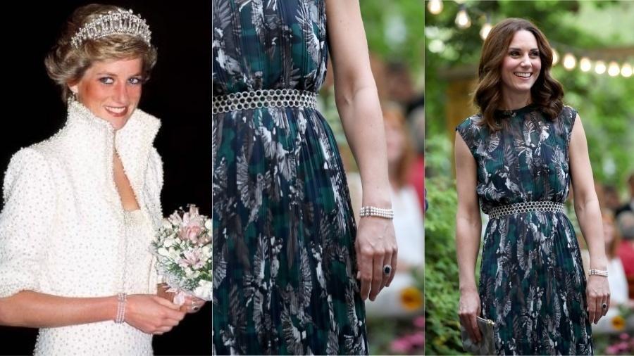 """Kate e Diana dividem não só um estilo parecido como o gosto pelas pérolas. O bracelete feito com essas pedras pelo designer Nigel Milne foi usado pela princesa de Gales em sua produção conhecida como """"vestido Elvis"""", em 1989, e passou para a duquesa de Cambridge, que usou em 2017, durante viagem a Berlim."""
