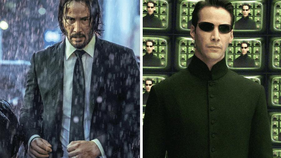 """Keanu Reeves em """"John Wick 3"""" e em """"Matrix"""" - Reprodução/Montagem"""