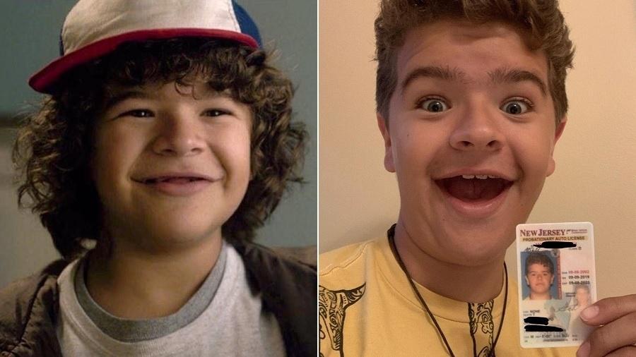 Gaten Matarazzo na primeira temporada de Stranger Things, aos 13 anos, e atualmente, com 17 e carteira de motorista - Montagem/UOL/Reprodução/Netflix/Instagram/gatenm123