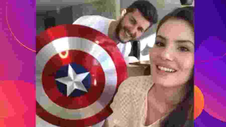 Klebber Toledo exibe escudo de Capitão América em vídeo - Reprodução/Instagram