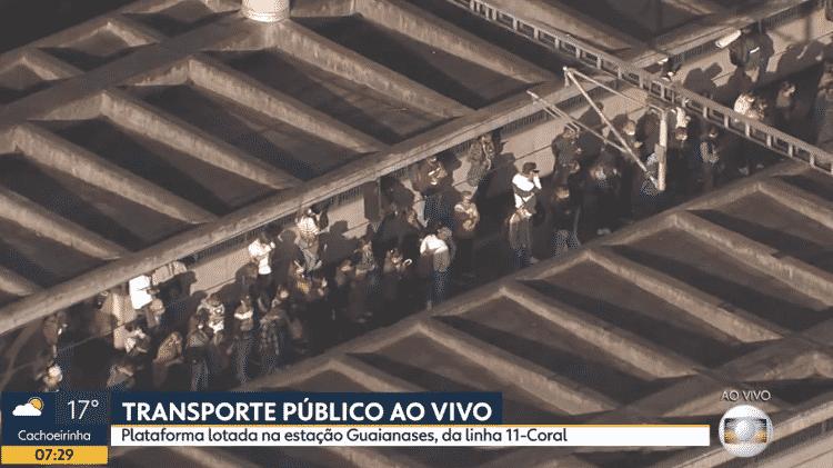 Plataforma da estação Guaianases, em São Paulo, estava lotada na manhã de hoje - Reprodução/Globoplay - Reprodução/Globoplay