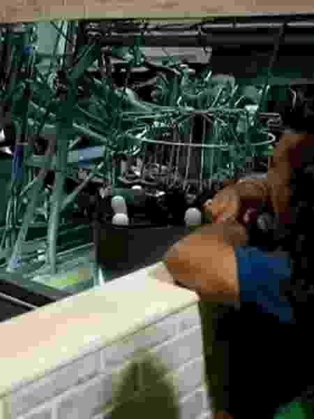 Buddy mostra máquina que esmagou suas mãos - Reprodução/RecordTV - Reprodução/RecordTV