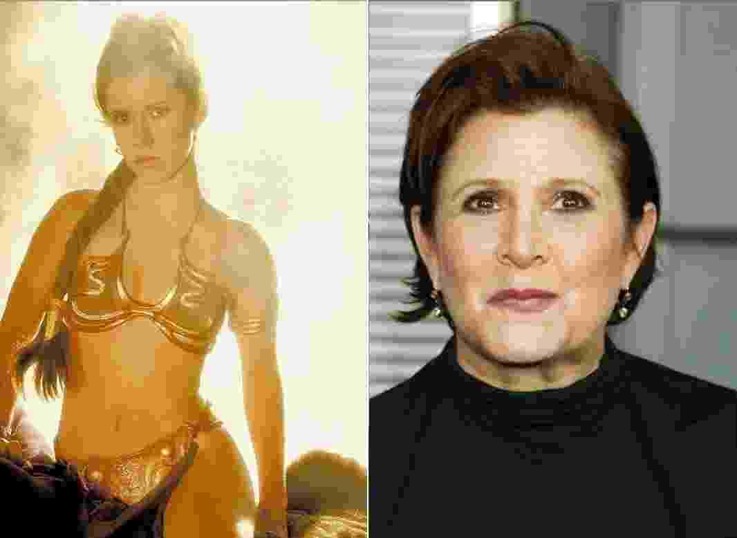 """O antes e depois do ator Carrie Fisher, de """"Star Wars"""" - Montagem/Reprodução"""