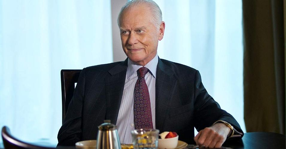 "Larry Hagman em cena no seriado ""Dallas'"