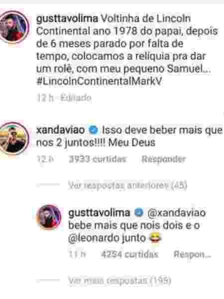 Gusttavo Lima responde a comentário de Xand Avião no Instagram - Reprodução/Instagram