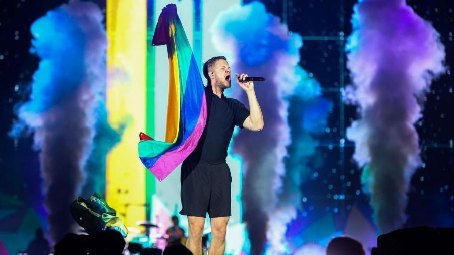 Dan Reynolds, vocalista do Imagine Dragons, no Palco Mundo do Rock in Rio - ALEXANDRE SCHNEIDER/GETTYIMAGES