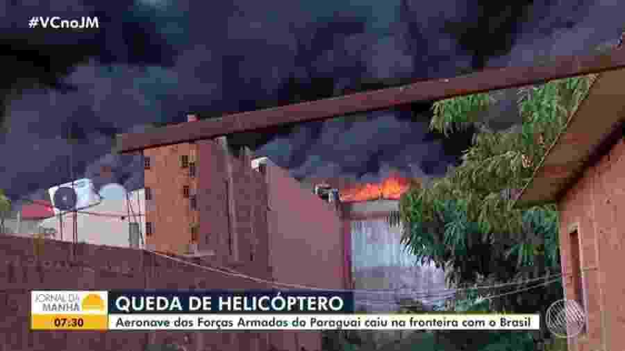 A aeronave caiu sobre um depósito de seringas e produtos de saúde - Reprodução/Globo