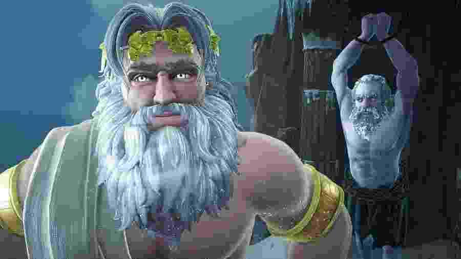 As interações entre Zeus e Prometeus são um dos pontos de humor do game - Divulgação/Ubisoft