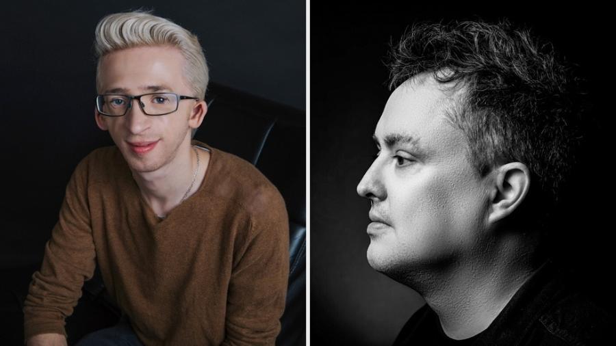 Jérémy Gabriel (esq) e Mike Ward (dir): o jovem, que é portador de deficiência, diz que piada grosseira do humorista o levou a pensar em suicídio - Marie-Josée Boisvert/Michel Grenier