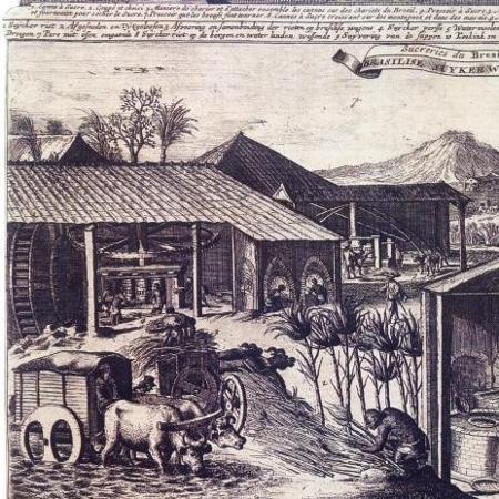Gravura publicada na segunda metade do século XVII: engenho movido a bois e água - Utrecht, 1682 - Utrecht, 1682
