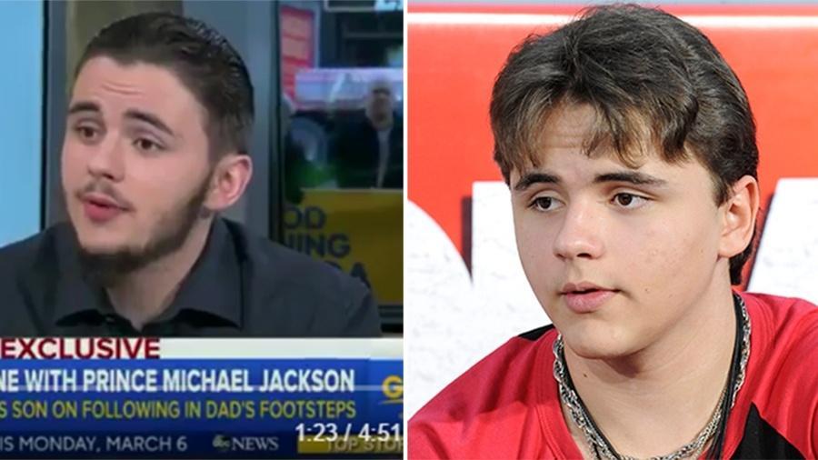 """Prince Jackson em entrevista ao programa """"Good Morning America""""; na foto ao lado o jovem aos 15 anos - Reprodução/Reuters"""