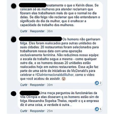 Comentários sobre as ações do McDonald's - Reprodução/Facebook - Reprodução/Facebook