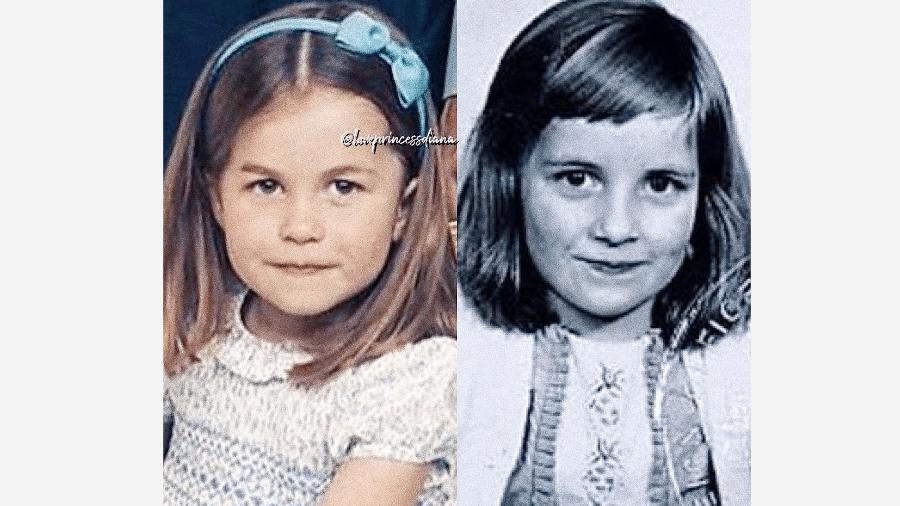 A princesa Charlotte e Lady Di: mesmo sorriso - Reprodução/Instagram
