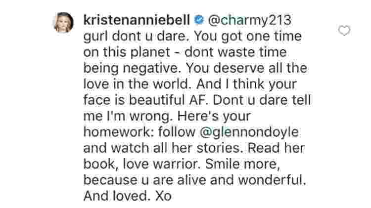 Comentário Kristen Bell - Reprodução/Instagram - Reprodução/Instagram