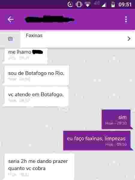 As mensagens também vieram pelo chat da OLX - Reprodução - Reprodução