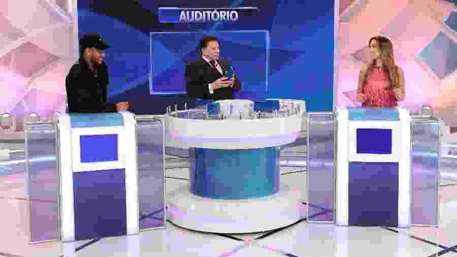 Neymar, Silvio Santos e Patrícia Abravanel durante a gravação no SBT - Lourival Ribeiro/SBT