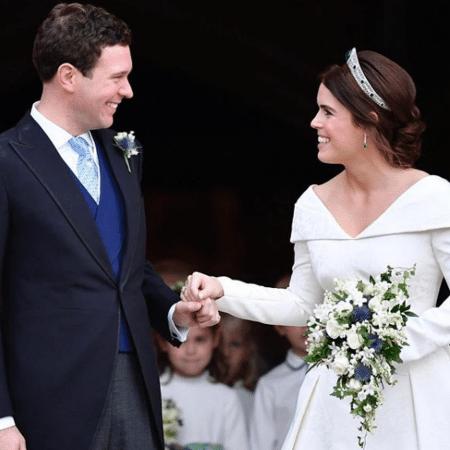 Princesa Eugenie e o marido em seu casamento, em outubro de 2018  - Reprodução/Instagram/@theroyalfamily