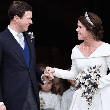 Princesa Eugenie e o marido Jack Brooksbank em seu casamento, em outubro de 2018  - Reprodução/Instagram/@theroyalfamily