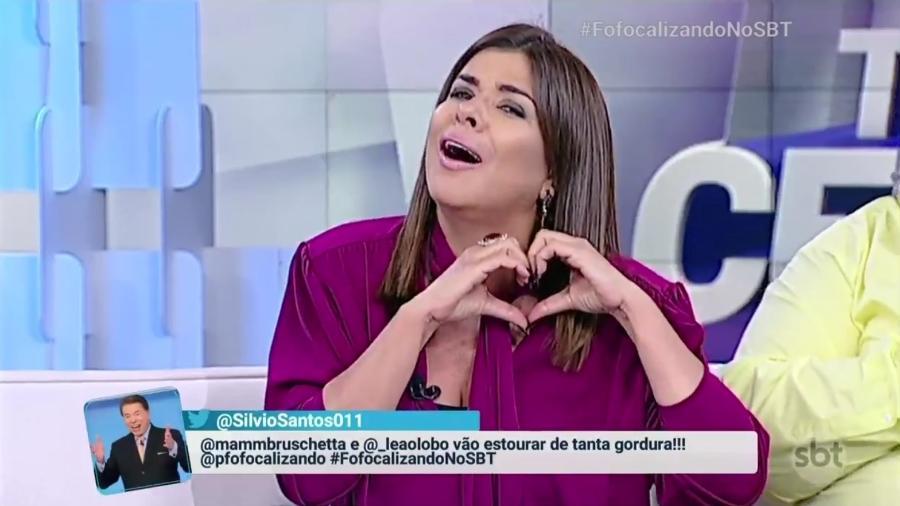 """Mara Maravilha pede perdão para Silvio Santos no """"Fofocalizando"""" - Reprodução/SBT"""